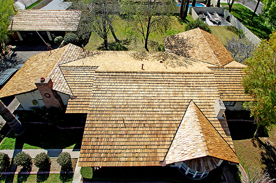 Emergency Roofing Phoenix Top view of roof using shingles